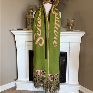 Juicy Couture Pink/Green/Brown Fringed Scarf